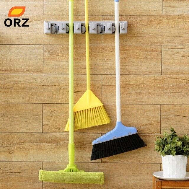 Orz Abs Wall Mounted Hanger Storage Rack 5 Position Kitchen Mop Brush Broom Organizer Holder Tool