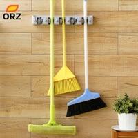 ORZ ABS Wandmontage Hanger Opbergrek 5 Positie Keuken Mop Brush Bezem Organizer Holder Tool Met Haak, badkamer Plank