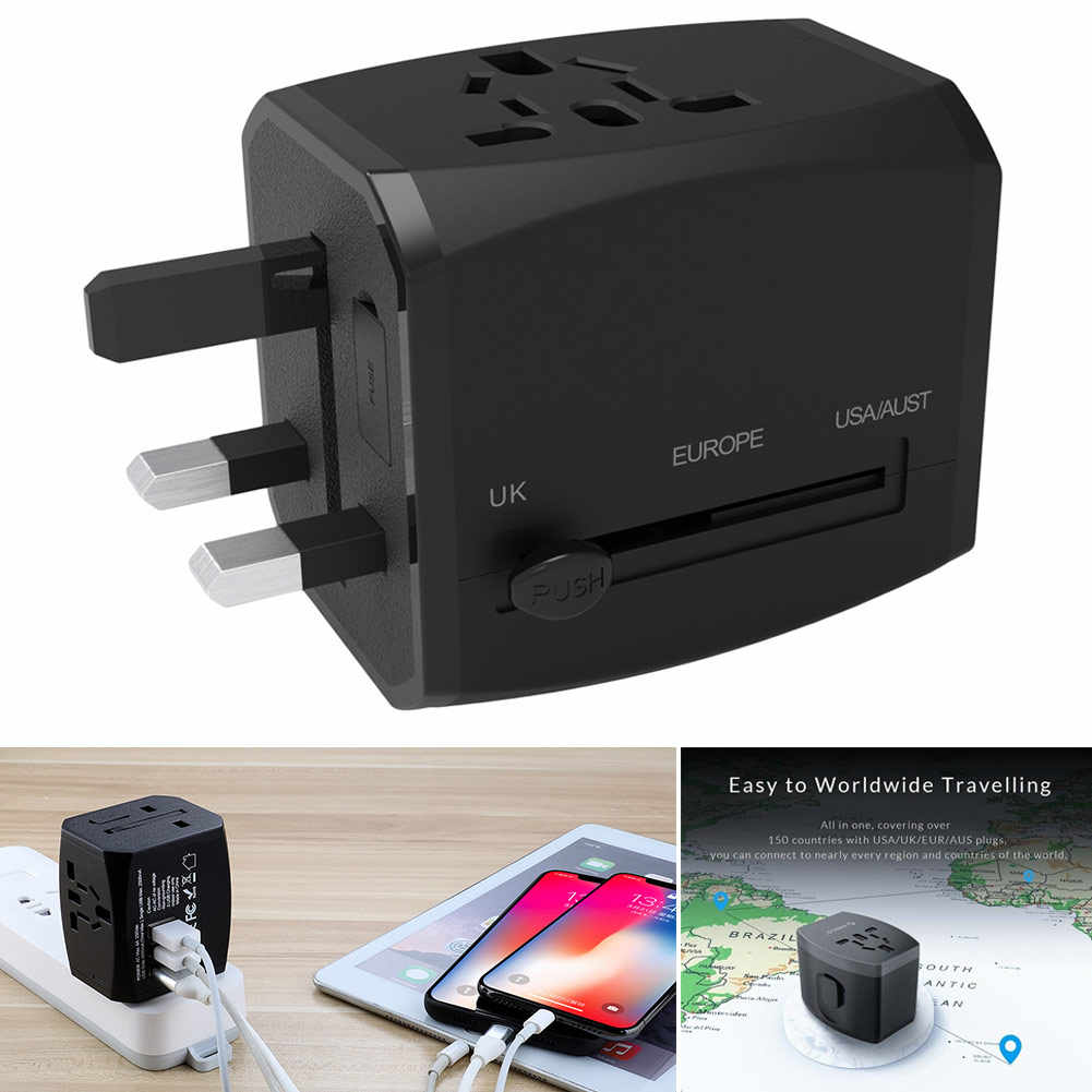 Wysokiej jakości wielofunkcyjny zasilacz 4 porty USB 5 V/2.4A uniwersalny wtyczka podróżna Adapter konwerter