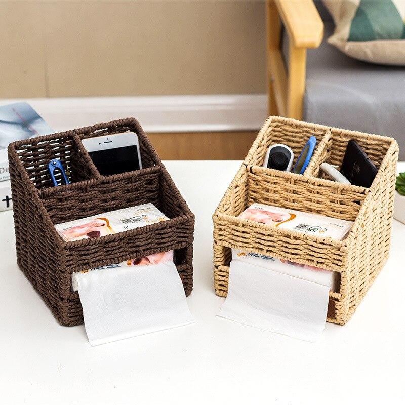 1Pcs Japanese Creative Practical Multifuncational Home Desktop Sundries Storage Boxes Straw Woven Basket Tissue 17*17*16CM