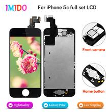 цена на 100Pcs Factory Full Set For iPhone 5C LCD Display Home button+Front camera Touch Screen Digitizer Assembly Free DHL Shipping