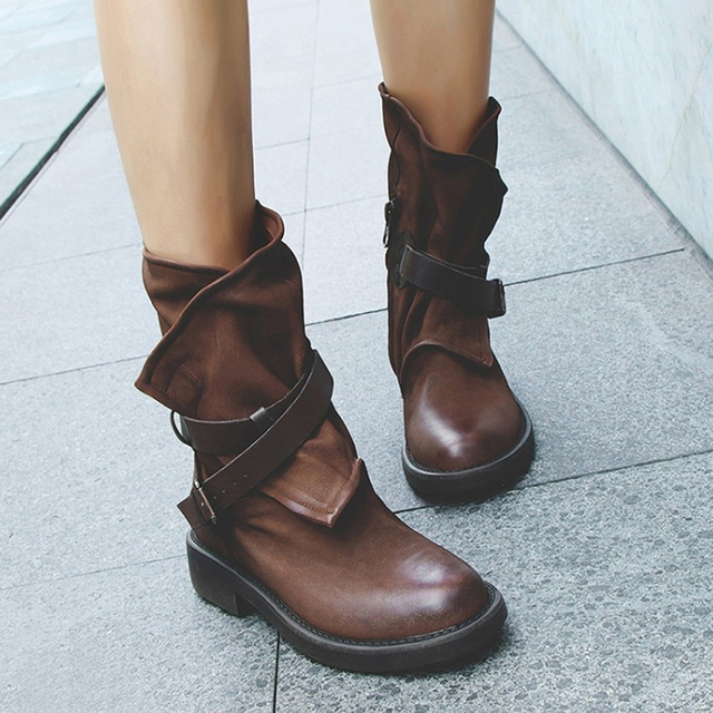 Vintage รองเท้าผู้หญิงกลางลูกวัวรองเท้าบูทรองเท้าหนังนุ่มรองเท้าผู้หญิงฤดูใบไม้ร่วงฤดูหนาวรองเท้าบู๊ตรถจักรยานยนต์รองเท้าแบน zapatos de mujer