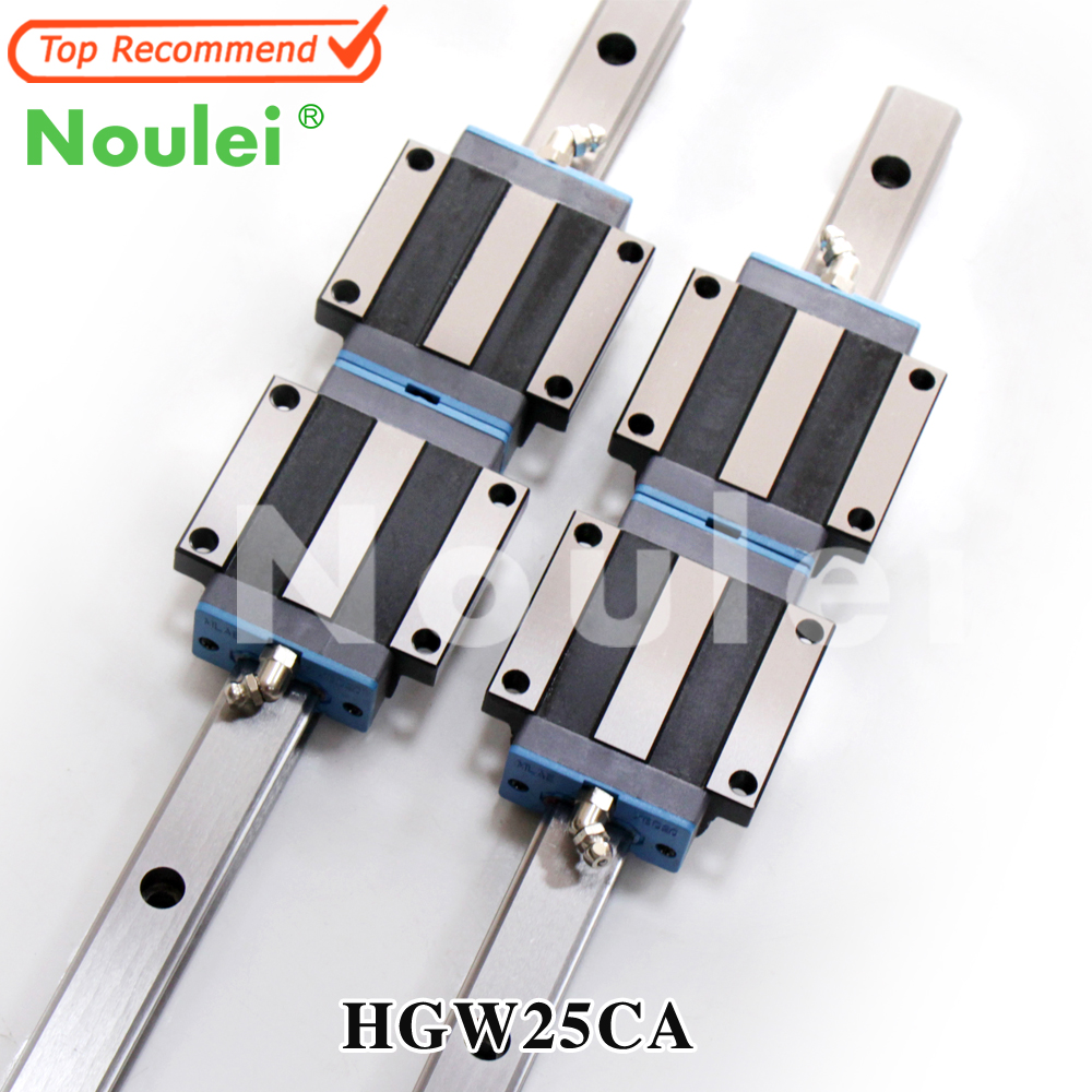 Noulei HGW25 China Linear Guide Rail 2pcs HGR25 1000mm and 4pcs HGW25CA Flange Carriage Blocks for CNC Router 600mm noulei hgw25cc hgw25ca slide block with 1500mm linear guide rail hgr25 for cnc z axis hgw25 guia
