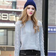 Women Sweater Europe Style New Autumn Loose Short Sweaters Female Fashion Round Neck Solid Color Bottom