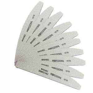Image 3 - 50Pcs 100/180 Nail Art Sanding Sandpaper Nail Washable Nail File Semilune Banana Buffing Curved Professional Manicure Tools Set