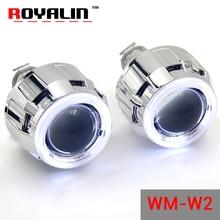 Royalin галогенные объектив H1 проектор фара Объектив W2 CCFL Halo Кольца глаза ангела Белый красные, синие для h4 h7 автомобиля стиль Ксеноновые лампы