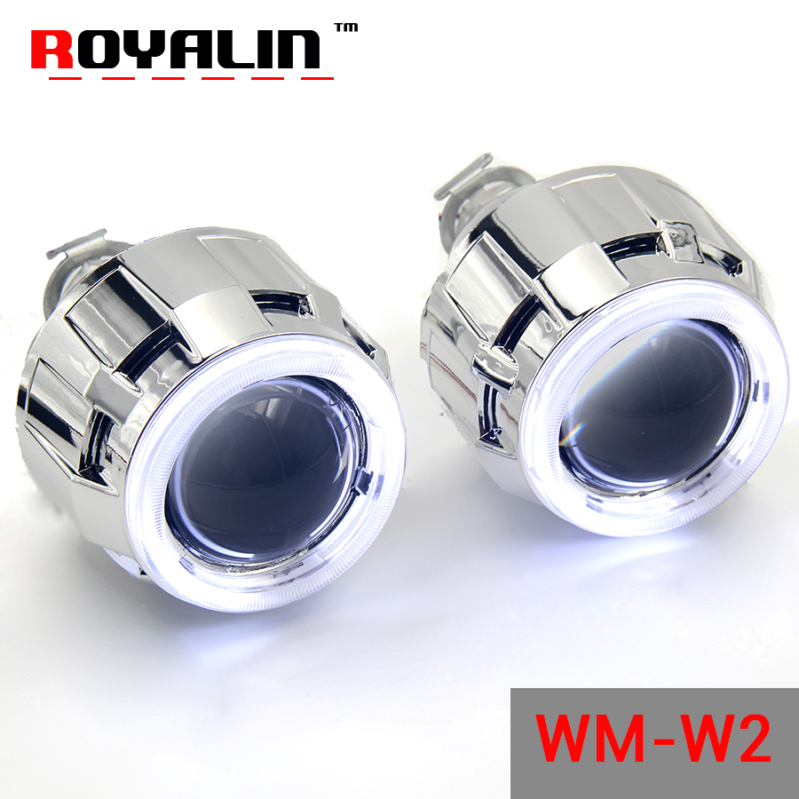 ROYALIN Halogen Lens H1 Projector Headlight Lens W2 CCFL Halo Rings Angel eyes White Red Blue for H4 H7 Car-Styling Xenon Lamps ...