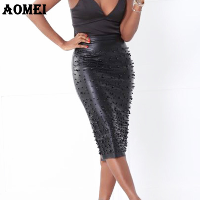 Office Ladies PU Pencil Skirt Sheath Split Tight Slim With Bead Wear To Work Female Autumn Elegant Jupes Saia Falda Officewear