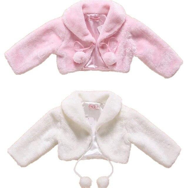 ดอกไม้ใหม่หญิงเสื้อแจ็คเก็ตเด็ก Warm Faux Fur Party งานแต่งงานเจ้าสาวเสื้อชุดราตรี Bolero เด็กฤดูใบไม้ร่วงที่อบอุ่นฤดูหนาว Shrug Drop การจัดส่ง