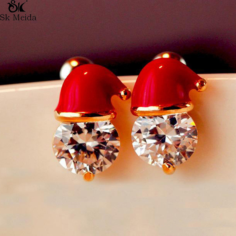 Sterling Silver Santa Earrings Gift Christmas Hat with Sparkly Crystal Stones