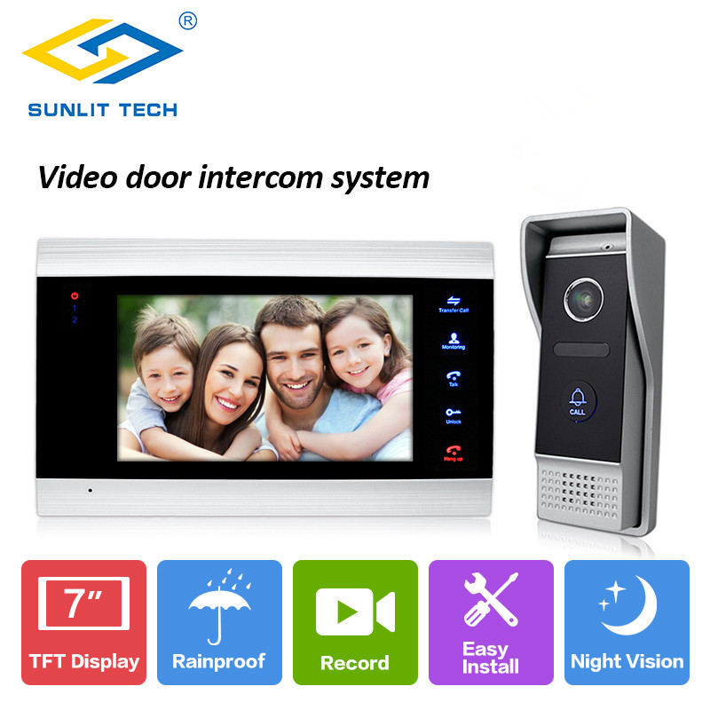 7 Inch Wired Touch Screen LCD Indoor Monitors Video Door Phone Intercom Door Access System For Home Gate Entry Security Kit sc200 300 200mm bore 300mm stroke sc200x300 sc series single rod standard pneumatic air cylinder sc200 300