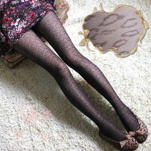 Jeseca Hot Women Sexy Tights Heart Leopard Dots Lace Fishnet Pantyhose Female Ladies Hosiery Legs High Silk Tight Stockings Gift 3