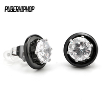 NewArrival Women Earrings Big Crystal Stone Ceramic Earrings For Women Black White Stainless Steel Stud Earrings
