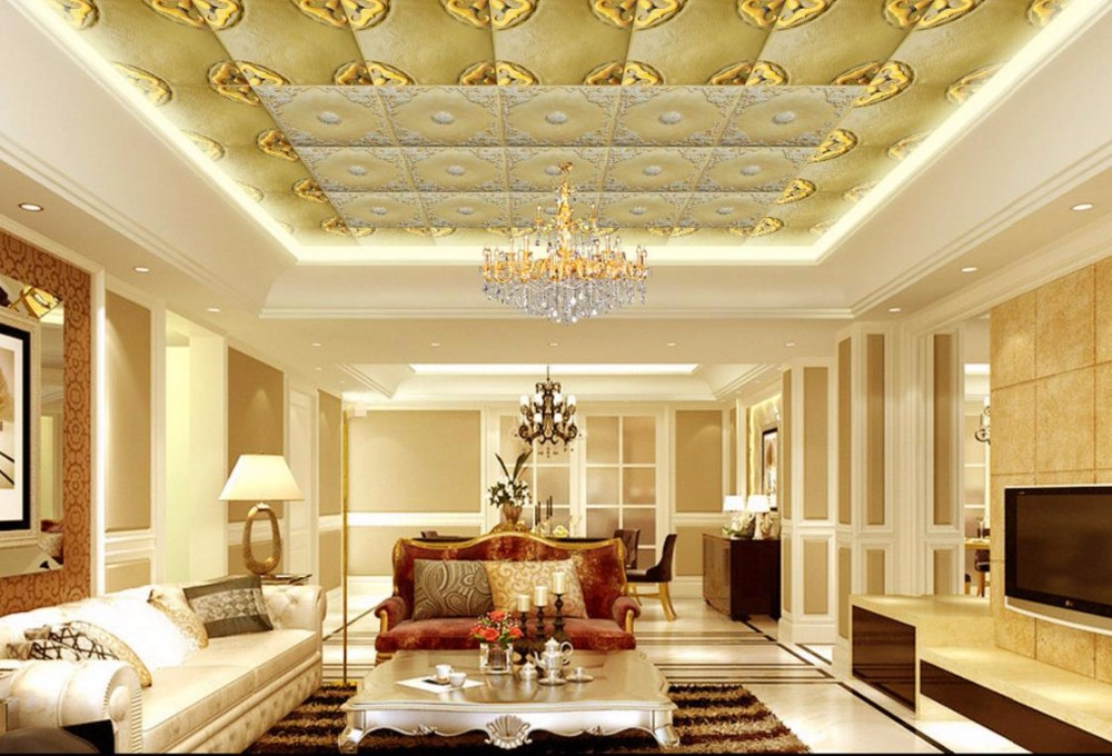 3D Ceiling Leather soft bag Photo Wallpapers For Living room Ceiling Nonwovens Customize Murals Wallpaper ceiling non woven wallpapr home decoration wallpapers for living room 3d mural wallpaper ceiling customize size