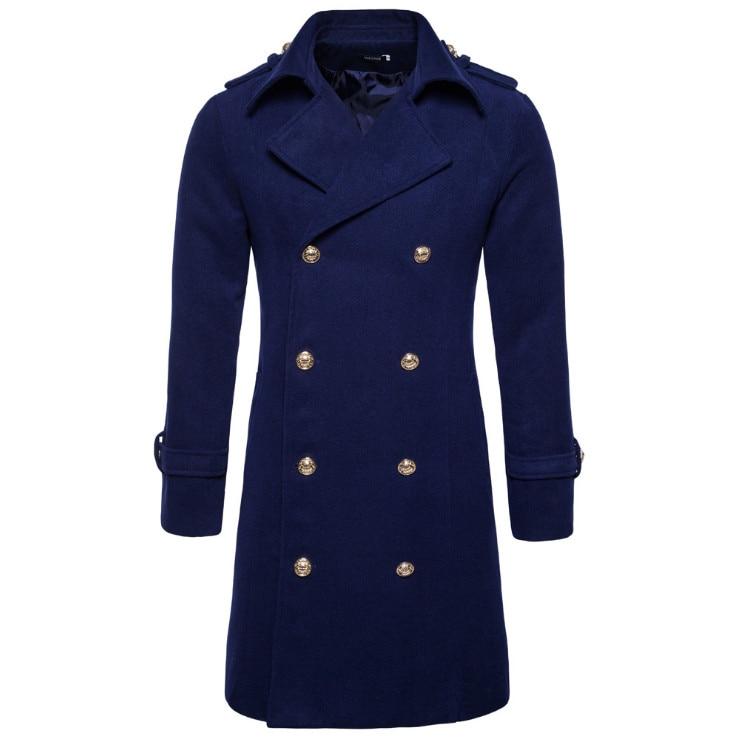 Europe/US Size Autumn Winter Double Breasted Woolen Coat Men England Style Slim Fit Long Windbreaker Jacket Male Casual Pea Coat