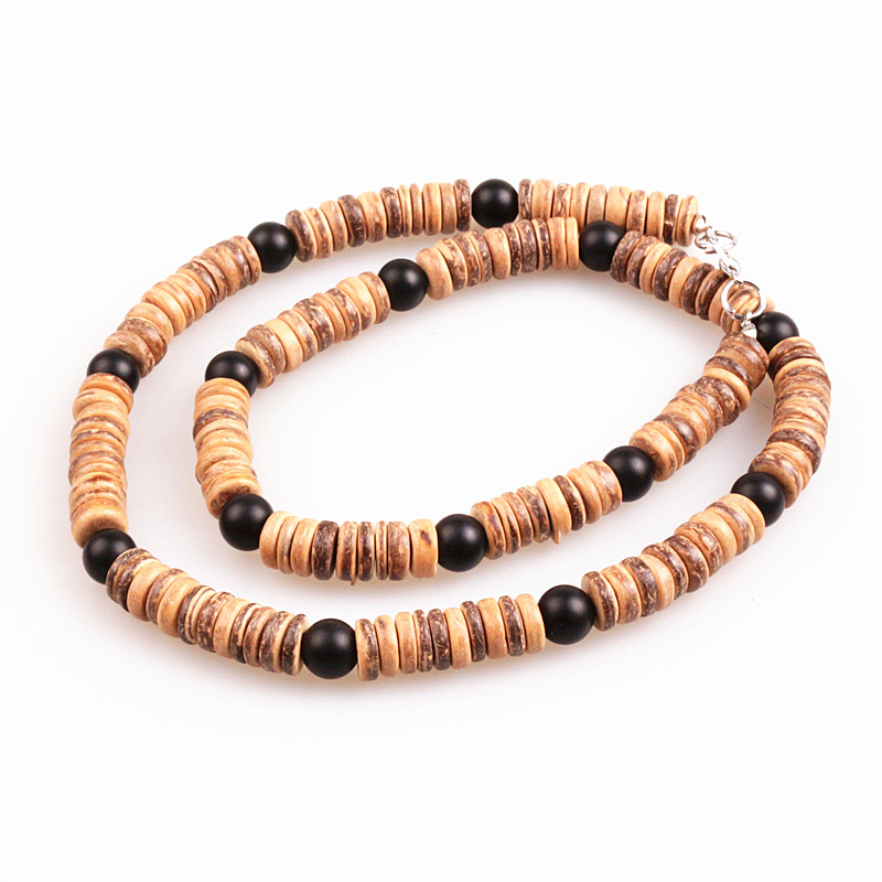 Natural wood bead & 8mm black bead Surfer Necklace for men tribal jewelry