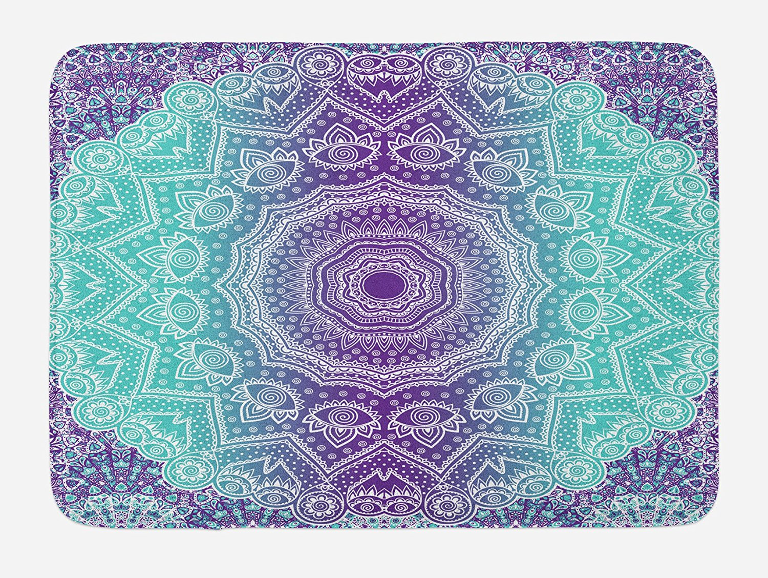 Purple and Turquoise Bath Mat Hippie Ombre Mandala Inner Peace and Meditation