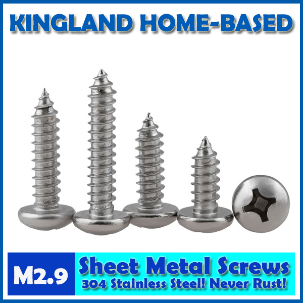 GB845 M2.9 Cross Recessed Pan Head Phillips Self-tapping Sheet Metal Screws For DIY 304 Stainless Steel Fastener LD017 yt807 304 stainless steel phillios self tapping screws cross recessed pan head tapping screw m5 xmm free shipping