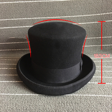 18.5cm Plus Sizes Magician Bowler Hat Steampunk Victorian Formal Dome Top Black Hat 100% Wool Felt Classic Fedoras Mad Hatter