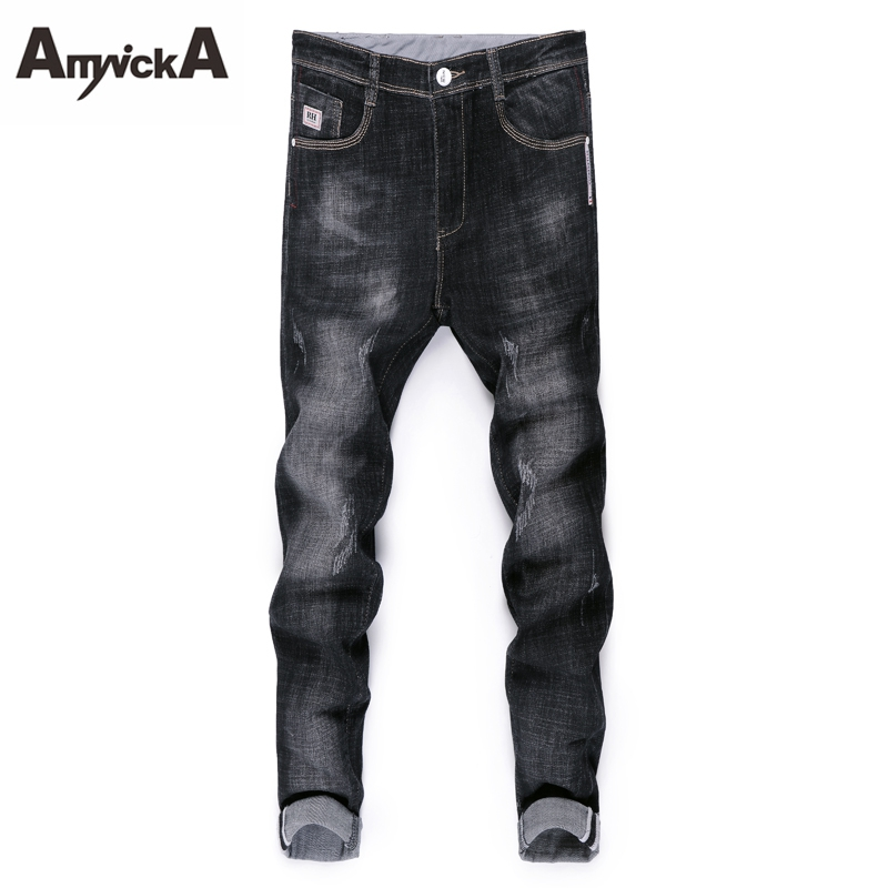 AmynickA New Slim Jeans Men Mid Waist Straight Denim Jeans Male Washed Boys Casual Jeans Black Blue Size 28-36 HSN806 fongimic new men clothing summer thin casual jeans mid waist slim long trousers straight high quality men s business denim jeans