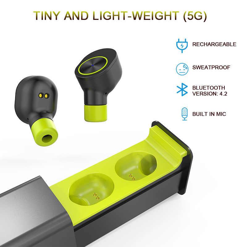 QCR TWS bezprzewodowe słuchawki douszne prawda TWS Sport słuchawki bluetooth najlepsza bezprzewodowa słuchawki douszne z mikrofonem najmniejszy stereofoniczny zestaw słuchawkowy