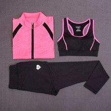 2018 3pcs Yoga Set for Gym Running Short One-piece Sportwear Women Running Tight Jumpsuits Sports Yoga set yoga bar Quick Dry