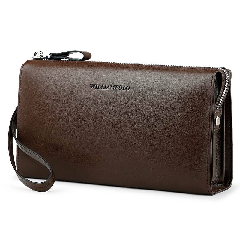 Genuine Leather Classic Mens Long Clutch Bag Large Capacity Zipper Retro Simple Design High Quality Mens Wallet Multi-FunctionGenuine Leather Classic Mens Long Clutch Bag Large Capacity Zipper Retro Simple Design High Quality Mens Wallet Multi-Function
