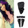 Indian Loose Wave with Closure 3Bundles with Lace Closure Loose Wave Virgin Hair Bundle Deals free part Closure with Weaves