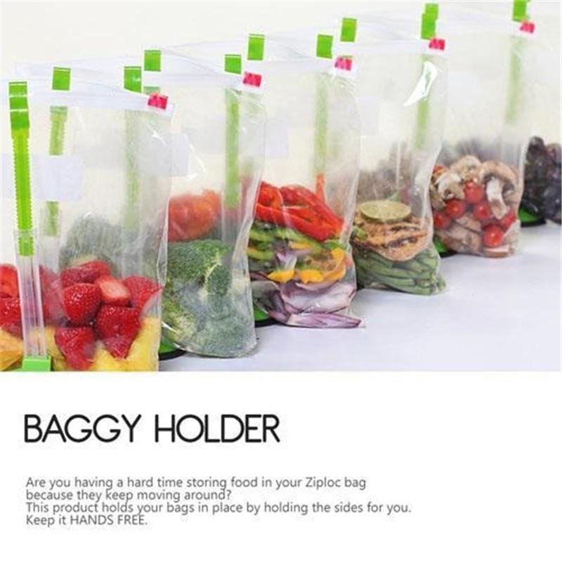 Kitchen Food Storage Bag Holder Racks Non-slip Clip Food Storage Bags Onto Holder Sandwich Bag Racks Cooking Storage Baggie