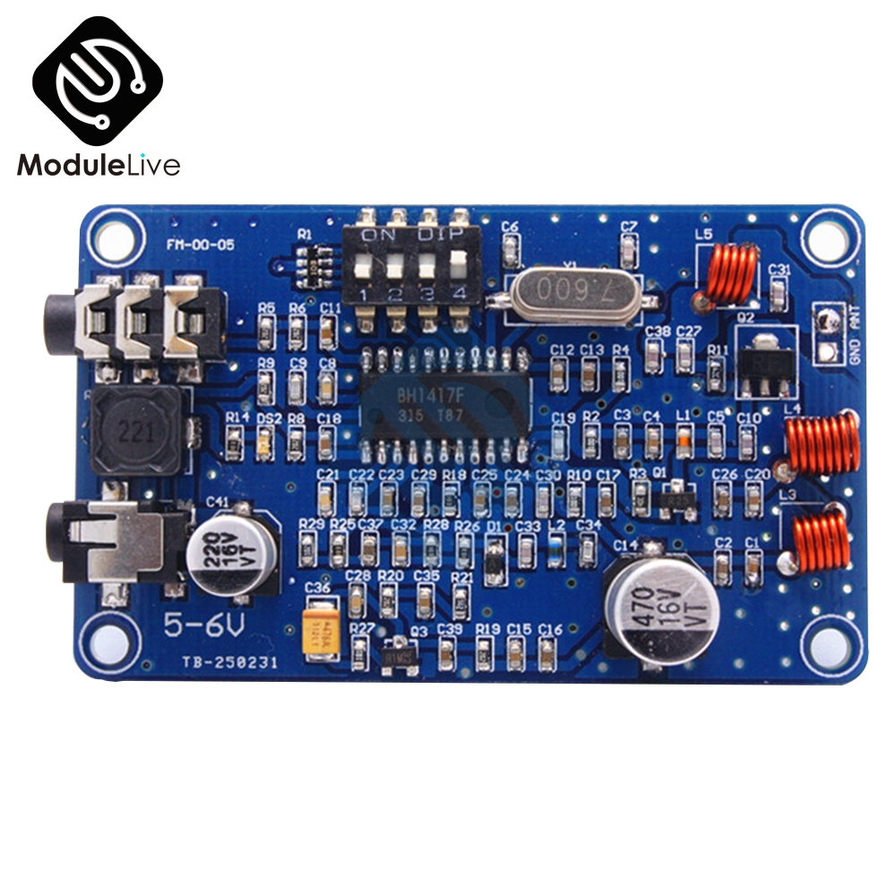 Electric Unit <font><b>BH1417</b></font> 200M 0.5W Digital Radio Station PLL Wireless Stereo FM Transmitter Module Two Channel Mode 5-6V DC image