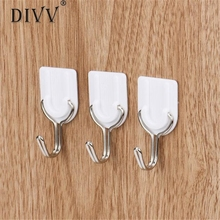 Home Wider Hot Selling 6PCS Strong Adhesive Hook Wall Door Sticky Hanger Holder Kitchen Bathroom White Free Shipping