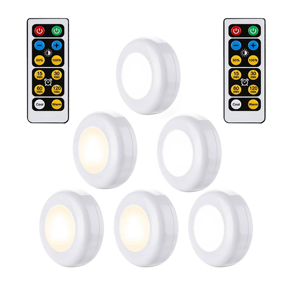 Warm white+White Double Color Dimmable Touch Sensor LED Under Cabinets lights Wireless LED Puck Lights led Closet Kitchen Lights Under-cabinet lighting