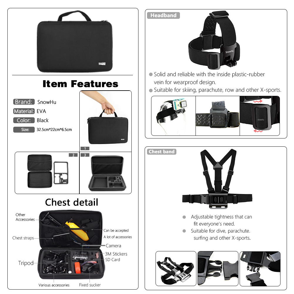SnowHu For for action camera Accessories Set for go pro hero 7 6 5 4 kit selfie stick for Eken for xiaomi for yi EVA case GS80 in Sports Camcorder Cases from Consumer Electronics