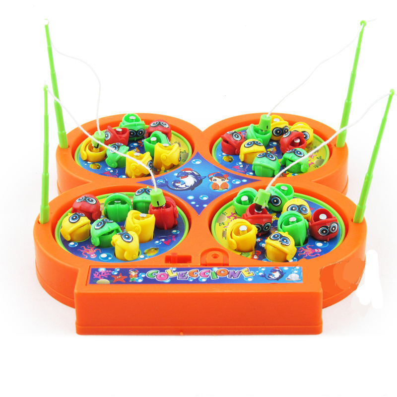 Rotating Magnetic Magnet fishing toys 4 fishing poles 48 Pieces fishes Singing kids children classic toys birthday gift
