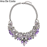 New Vintage Exaggerate Alloy Necklace Multicolour Horse Eye Pendant Necklaces Charm Crystal Inlay Jewelry For Women
