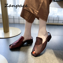 Zanpace New Women Slippers Summer  Fashion Low Heels Fish Toe Shoes Outside Lndoor Slides Sexy Wedges Women Flip Flop Sandals 2019 new creative necklace green four leaf clover gift glass convex personality pendant necklace fashion jewelry