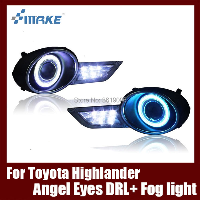 Fog Lamp Assembly LED Day Light COB Angel Eyes Foglight Daytime Running Light Lens Bumper For Toyota Highlander Kluger 2009-2011