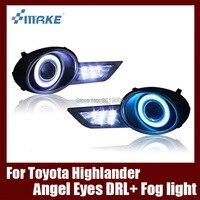 Fog Lamp Assembly LED Day Light COB Angel Eyes Foglight Daytime Running Light Lens Bumper For Toyota Highlander Kluger 2009 2011