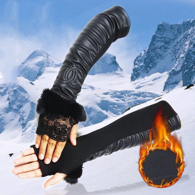 Г-жа Длинные кожаные перчатки мех кролика кружева кожа усадки эластичной ткани дизайн шаблон дизайна теплые PU перчатки 50 СМ