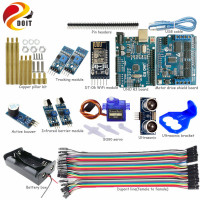 Officail DOIT New WiFi Control Avoidance Tracking Motor Smart Robot Car Chassis Kit Ultrasonic Module SG90