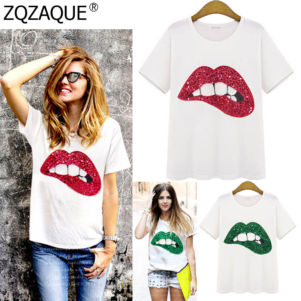 M-5XL New Fashion Women's T Shirts Over Size Loose Cotton Top Girls Shining Sequins Red Green Lip Pattern T-Shirts Summer Tops