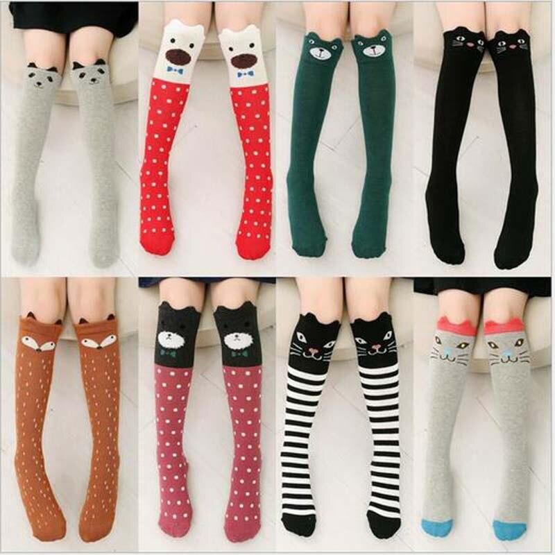 Kids Long Socks Knee High toddler Girls Boot Sock Leg Warmer Cute Cat/fox Black baby Cotton Sock for school girls