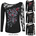 Patchwork Lace Up T Shirt Shirts Blusas Skull Printed Sexy Tops Women Fashion Tee Shirts Pullovers Mujer Lace Blusas plus size