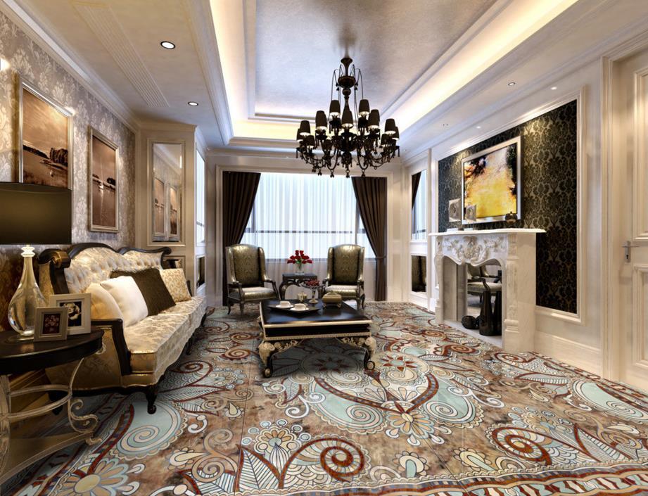 3d flooring wallpaper Marble mosaic <font><b>tile</b></font> PVC wallpaper 3d floor for walls 3d vinly floor wallpaper