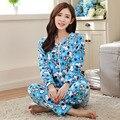 2016 Invierno Pijamas Chándal Pijamas Stitch Pijama Unicornio Animal de Dibujos Animados Femme Homewear Pijamas Mujer Azul ropa de Dormir