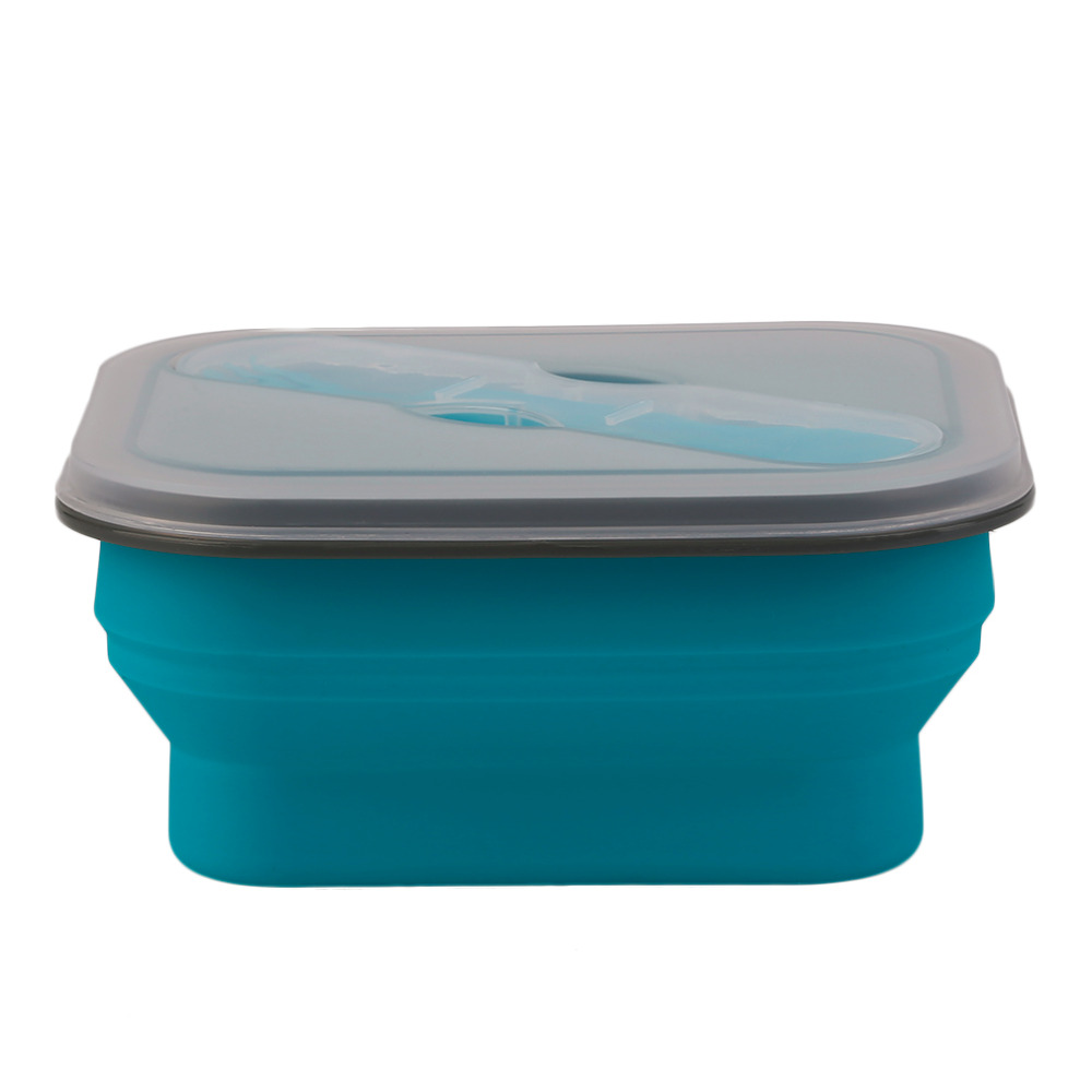 Foldable XF9112-L1 Safety Silicone Lunchbox Children Kid Picnic Food Container Storage Boxes Portable Lunchbox 600ML