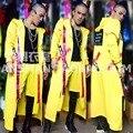Оригинальный дизайн мужская Мода Желтый хип-хоп письма буйтер ремни длинный плащ костюм костюм ночной клуб певец dj комплект одежды