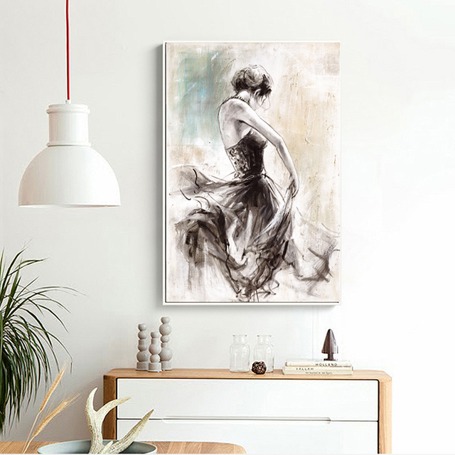 Modern Nordic decorative furniture without frame canvas painting women abstract poster wall art