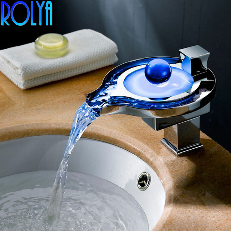 ROLYA Wholesale No Need Battery water powered Luxury Unique Color Changing Waterfall Led Basin Faucet Mixer Bathroom Taps