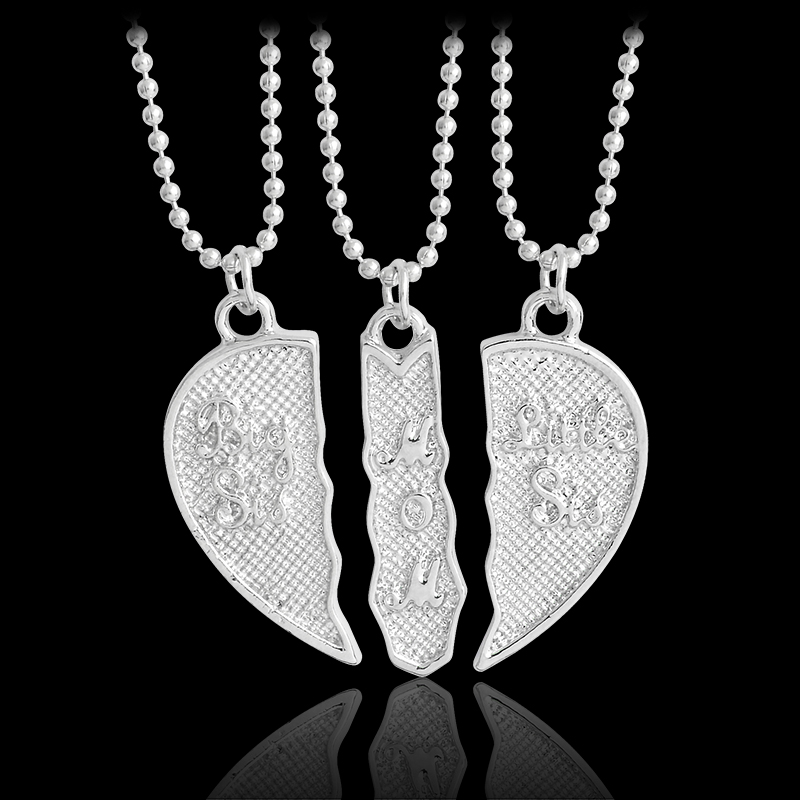 3pcs/set Big sis,little sis,mom heart pendant necklace Heart jewelry Family jewelry Necklace for women Gift for sister Mom gifts